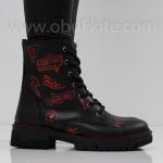 ДАМСКИ БОТИ - 2409-6001202023 BLACK-RED