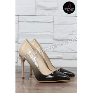 Елегантни обувки 16-RZ3101 01 Beige-Black